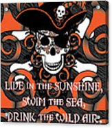 Celtic Spiral Pirate In Orange And Black Acrylic Print