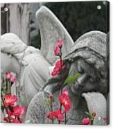 Cemetery Stone Angels And Flowers Acrylic Print