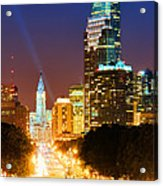 Center City Philadelphia Night Acrylic Print by Olivier Le Queinec