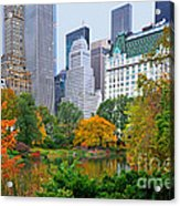 Central Park And Fifth Autumn View Acrylic Print