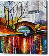Central Park - Palette Knife Oil Painting On Canvas By Leonid Afremov Acrylic Print