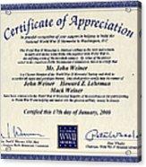 Certificate Of Appreciation Acrylic Print