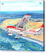 Cessna 206 Flying Over The Outer Banks Acrylic Print