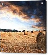 Cezanne Style Digital Painting Beautiful Golden Hour Hay Bales Sunset Landscape Acrylic Print