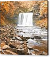 Cezanne Style Digital Painting Beautiful Woodland Stream And Waterfall In Summer Acrylic Print