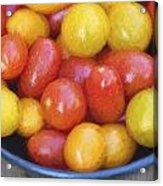Cezanne Style Digital Painting Fresh Juicy Heirloom Tomatoes In Rustic Setting Acrylic Print