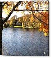 Cezanne Style Digital Painting Lake Landscape Autumn Fall Acrylic Print