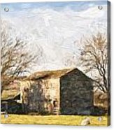 Cezanne Style Digital Painting Panorama Landscape Traditional Stone Barn In Autumnal Countrysid Acrylic Print