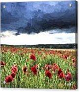 Cezanne Style Digital Painting Stunning Poppy Field Landscape In Summer Sunset Light Acrylic Print