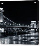 Chain Bridge Night Bw Acrylic Print