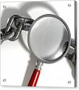 Chain Missing Link Magnifying Glass Acrylic Print by Allan Swart