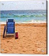 Chair on empty beach Acrylic Print