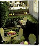 Chairs And Tables In A Garden Acrylic Print