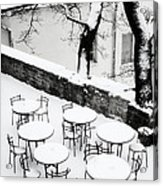 Chairs And Tables In Snow Acrylic Print