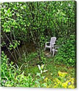 Chairs By The Creek In Summer Acrylic Print