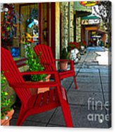 Chairs On A Sidewalk Acrylic Print by James Eddy
