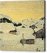 Chalets In Snow Acrylic Print by Giovanni Segantini
