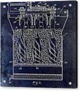 Champagne Bottle Freezer Patent 1902 Blue Acrylic Print