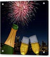 Champagne Toast With Portland Oregon Skyline Acrylic Print