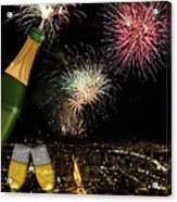 Champagne Toast With San Francisco Skyline At Night Acrylic Print