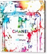 Chanel Number Five Paint Splatter Acrylic Print