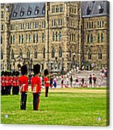 Changing Of The Guard In Front Of Parliament Building In Ottawa- Acrylic Print