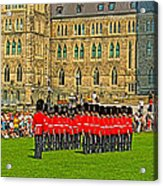 Changing Of The Guard In Front Of The Parliament Building In Ottawa-on Acrylic Print