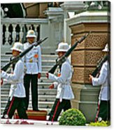 Changing Of The Guard Near Reception Hall At Grand Palace Of Thailand In Bangkok Acrylic Print