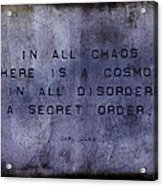 Chaos - Carl Jung Acrylic Print