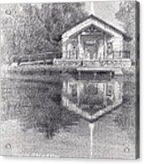 Chapel On A Lake Pencil Portrait Acrylic Print