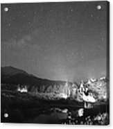 Chapel On The Rock Stary Night Portrait Bw Acrylic Print
