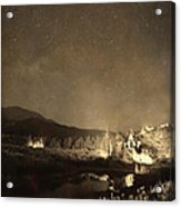 Chapel On The Rock Stary Night Portrait Monotone Acrylic Print by James BO  Insogna
