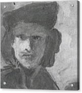 Charcoal Study Of Rembrandt  Self-portrait With Velvet Beret Acrylic Print