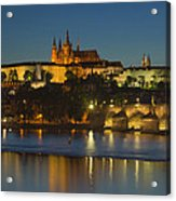 Charles Bridge And Prague Castle At Dusk  Acrylic Print