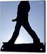 Charles De Gaulle Statue Silhouette On The Champs Elysees In Paris France Acrylic Print