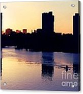 Charles River Rower At Dawn Acrylic Print by Kenny Glotfelty