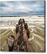 Charleston Sc Folly Beach Coastal Atlantic Ocean Acrylic Print