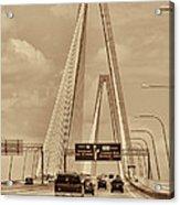 Charleston's Magnificent Cable Bridge In Sepia Acrylic Print