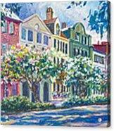 Charleston's Rainbow Row Acrylic Print by Alice Grimsley