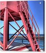 Charlevoix Lighthouse Steps Acrylic Print