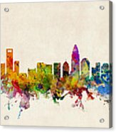 Charlotte North Carolina Skyline Acrylic Print