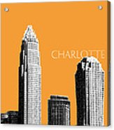 Charlotte Skyline 2 - Orange Acrylic Print by DB Artist