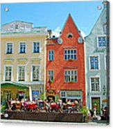 Charming Town Square In Old Town Tallinn-estonia Acrylic Print