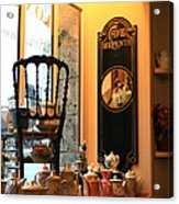 Chartres Cafe Acrylic Print by A Morddel