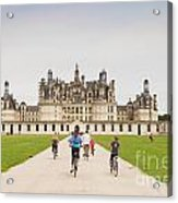 Chateau Chambord And Cyclists Acrylic Print