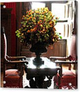 Chateau De Chenonceau Flowers And Chairs Acrylic Print