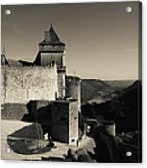 Chateau De Castelnaud With Hot Air Acrylic Print