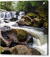 Chattooga River Potholes Waterfall Highlands Nc - The Artist's Hand Acrylic Print by Dave Allen