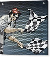 Checkered Flag Grunge Color Acrylic Print by Frank Ramspott