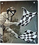 Checkered Flag Grunge Monochrome Acrylic Print